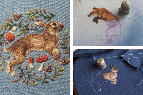 Collage of Chloe Giordano's embroideries featuring a rabbit and fox