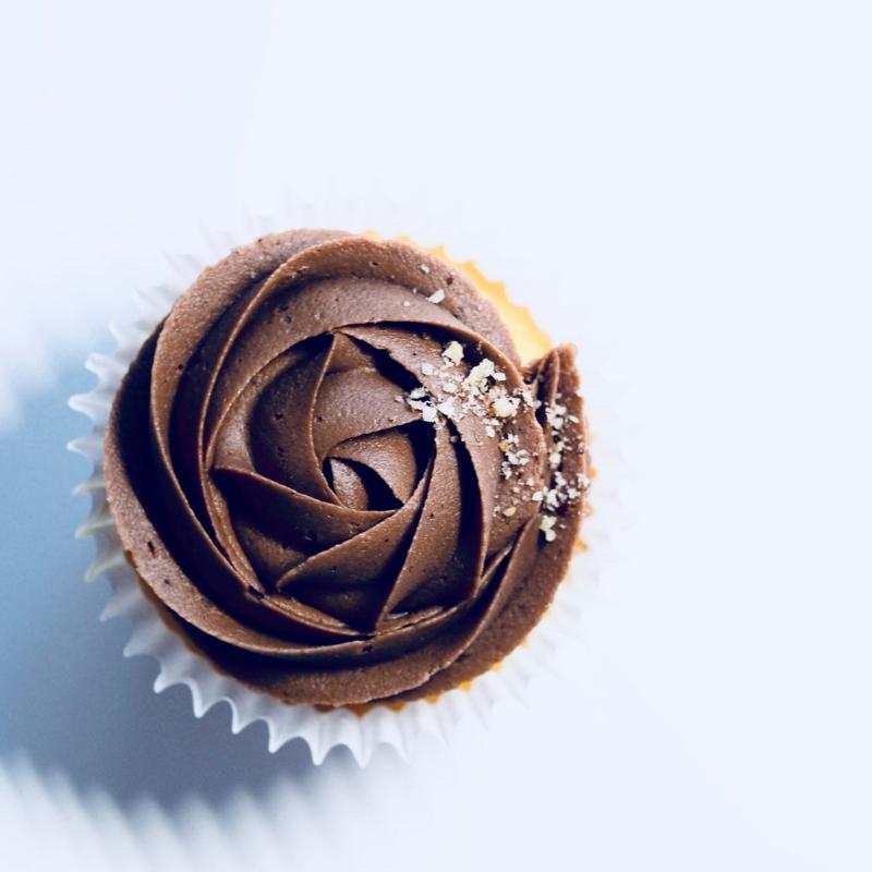 Ganache covered cupcake