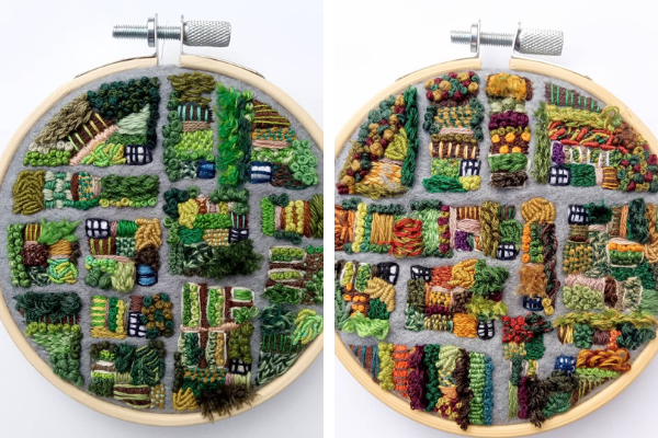 Collette Kinley sewing allotment birds eye view