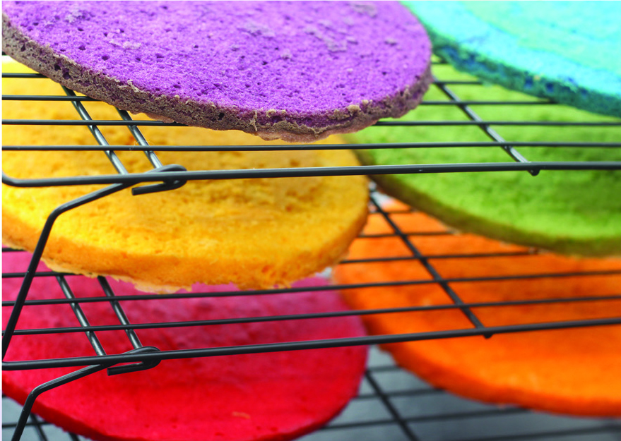 Colourful cakes cooling