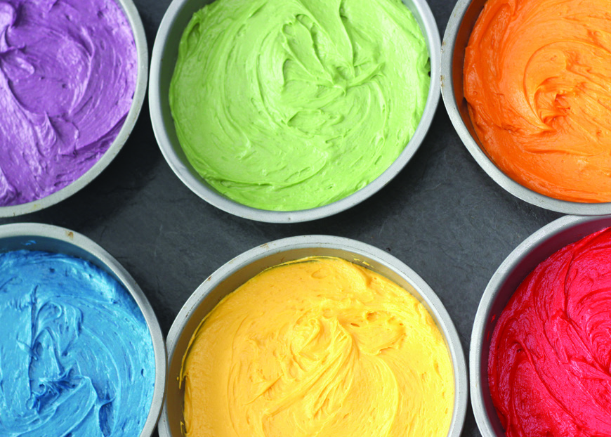 Colourful cakes pre baked