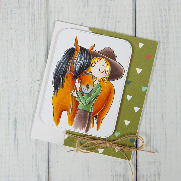 Horse digi stamp card with girl