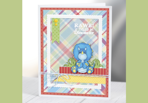 Dinosaur card by Whimsy Stamps