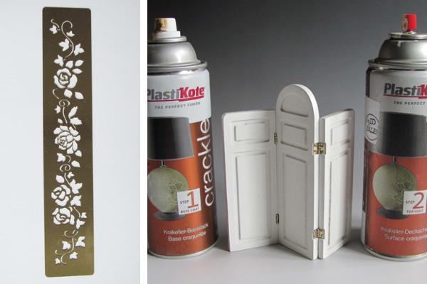Brass stencil and crackle glaze