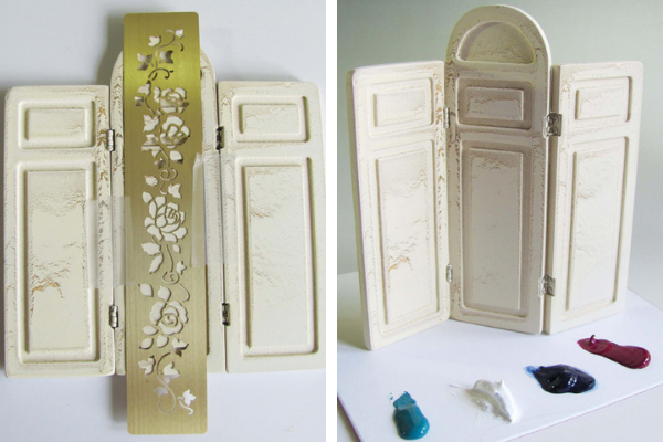 Brass stencil and paints ready for miniature screen