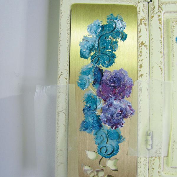 Painting florals using miniature stencil