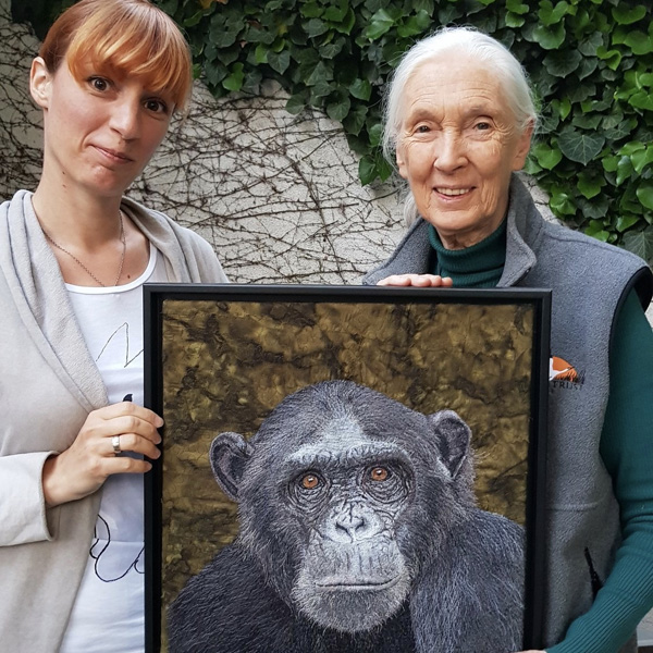 Dr. Jane Goodall Wounda and Janine Heschl with hyper-realistic portrait