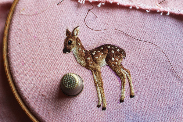 Embroidered fawn by Chloe Giordano