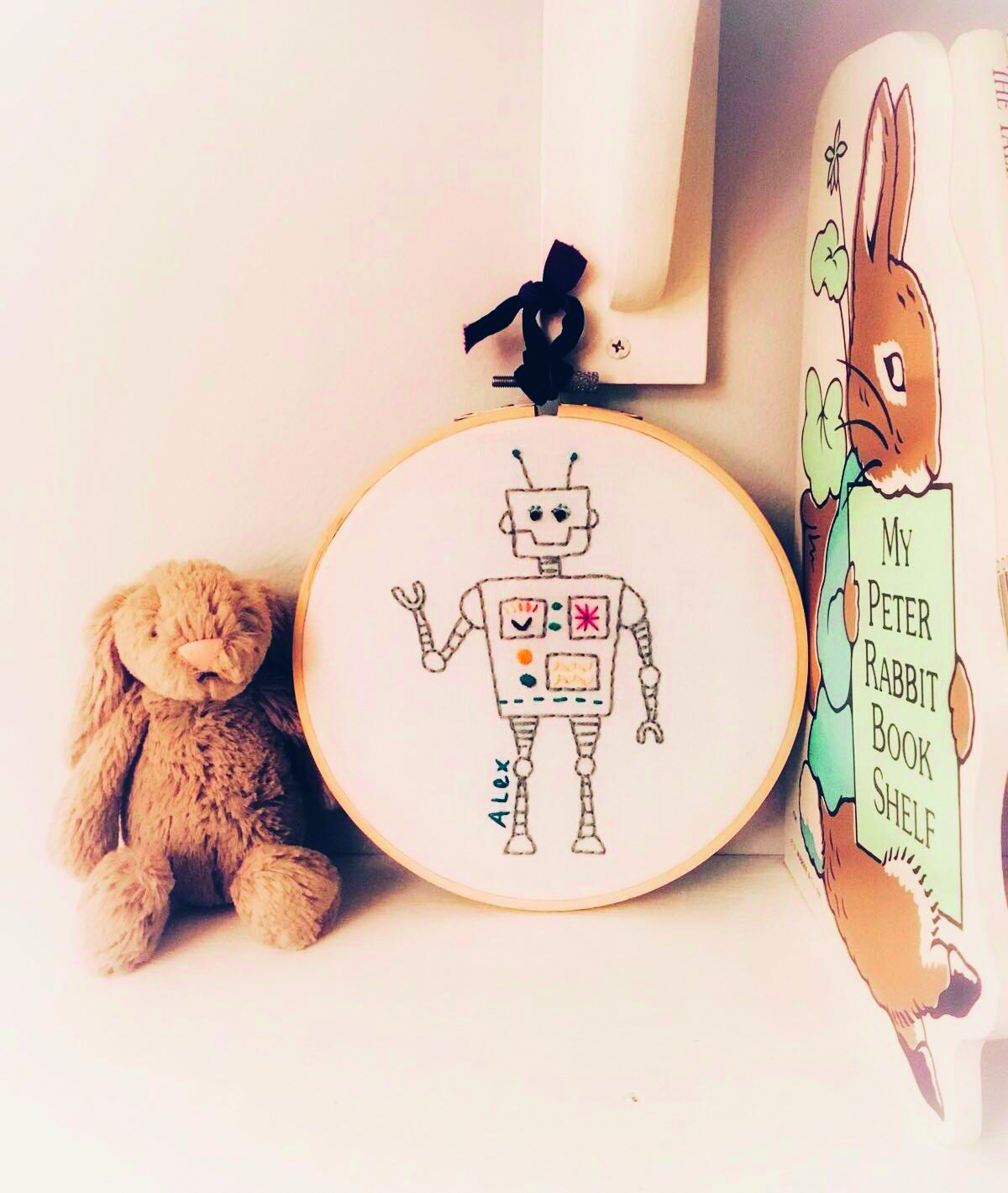 Embroidered robot by Oz and Belle