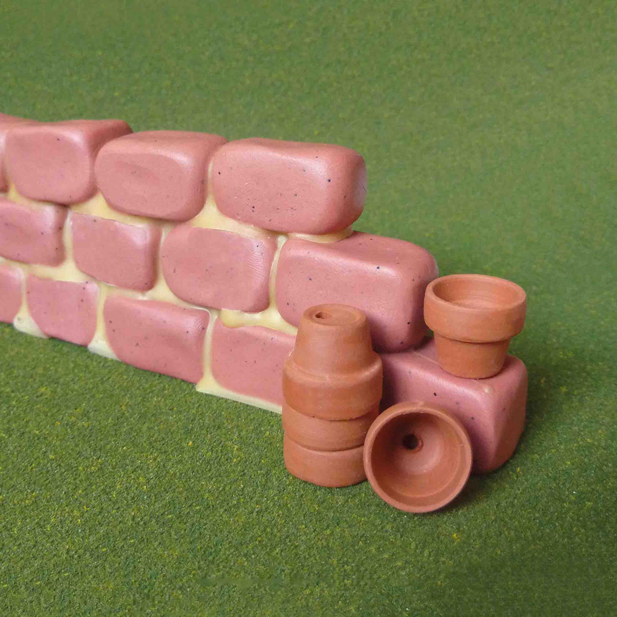 miniature garden wall using polymer clay