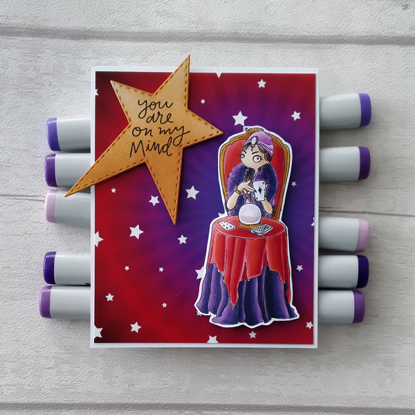 Fortune teller card with 'you are on my mind' sentiment
