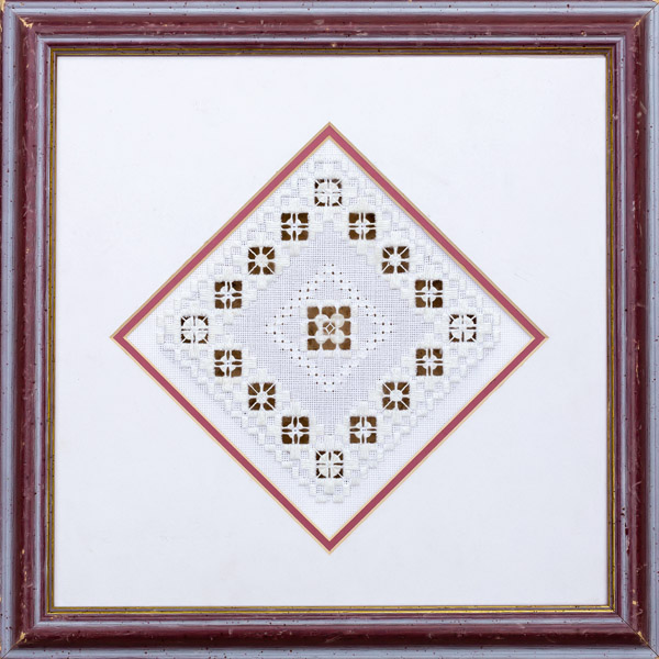 Framed whitework embroidery by Carol Leather