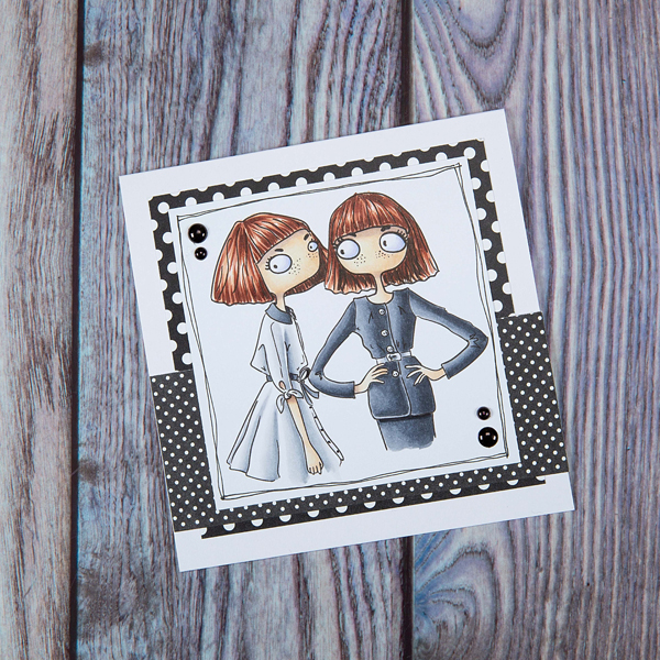 Gemini digi stamp card with twins