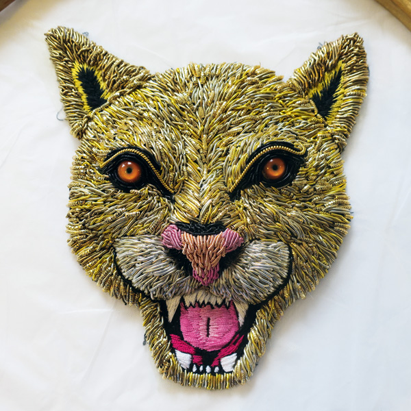 'Big Cat' stumpwork embroidery by Georgina Bellamy