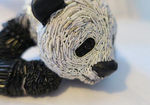 Georgina Bellamy panda stumpwork embroidery