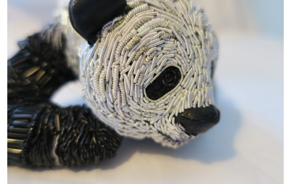 Georgina Bellamy panda stumpwork embroidery