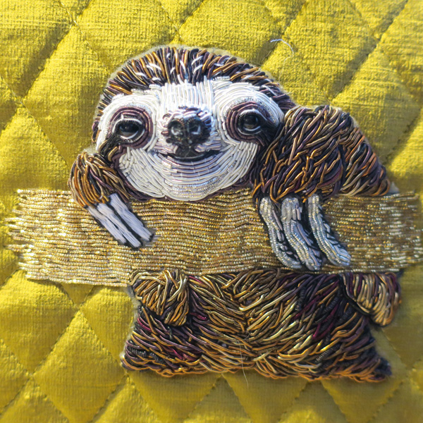'Sloth' stumpwork embroidery by Georgina Bellamy