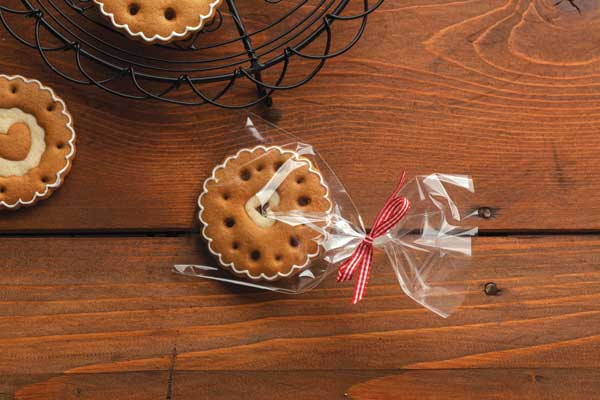 Gingerbread cookie in a cookie bag with ribbon