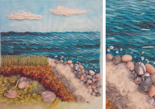 hand embroidered water by Emily Wilmarth