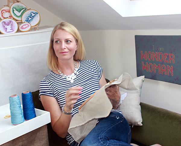Hannah Sturrock stitching in her studio