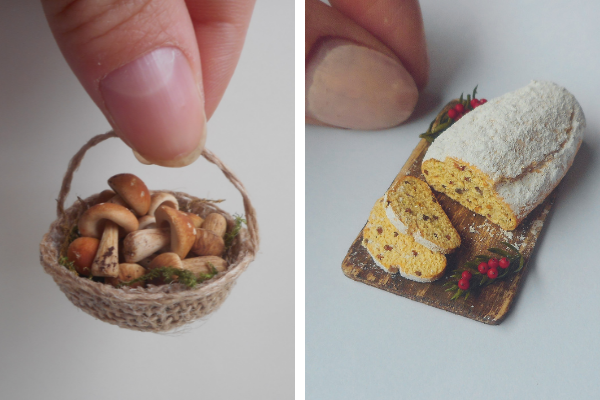 Polymer clay mushrooms and stollen by Candida Maritato