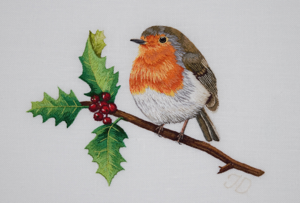 Robin Red Breast embroidery by Jessica Devin