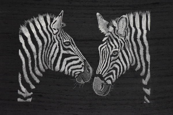 Needle painted zebras by Jessica Devin