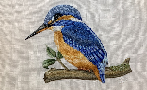 Your Majesty kingfisher embroidery by Jessica Devin