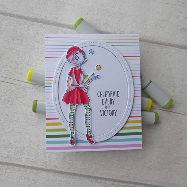 Juggling clown card with sentiment