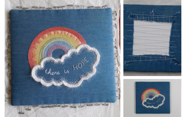 rainbow embroidery with 'there is hope' wording in cloud