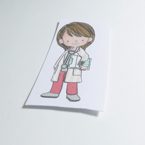 Layered doctor image placed on card