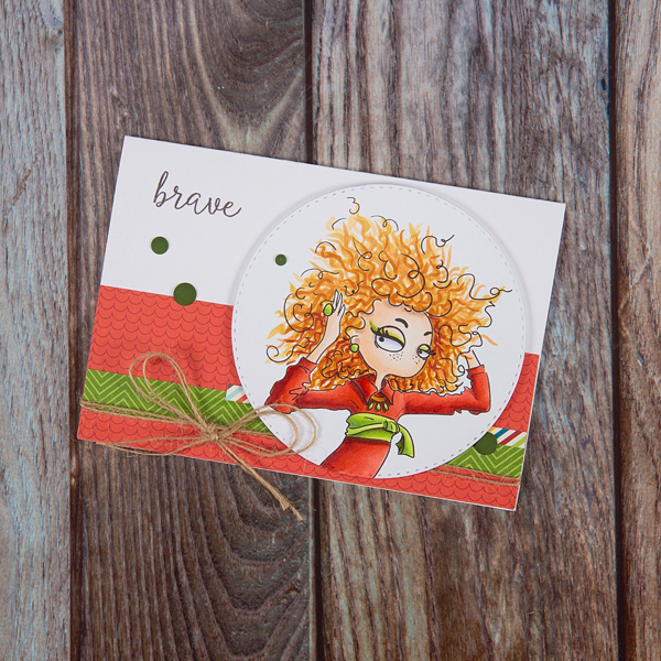 Leo digi stamp card of a woman with 'brave' text
