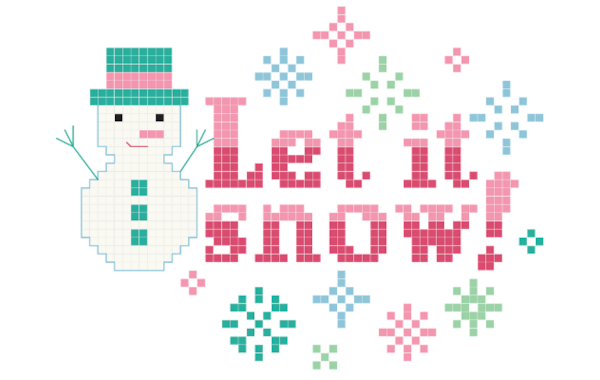 Let it snow crossstitching stitch people
