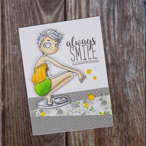 Libra digi stamp card of woman crouching on scales