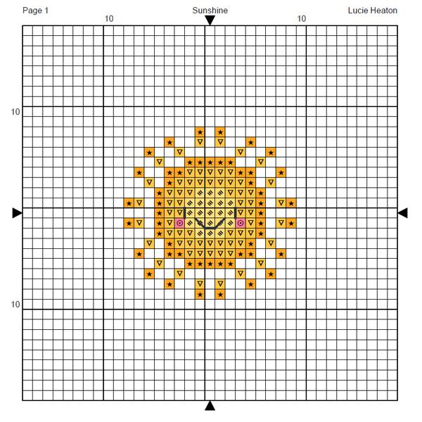 Sunshine cross stitch chart by Lucie Heaton