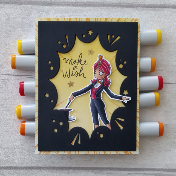 Magician digi stamp card with 'make a wish' sentiment