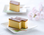 Castella cake sliced