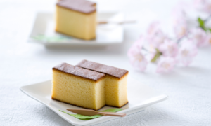 Castella cake sliced