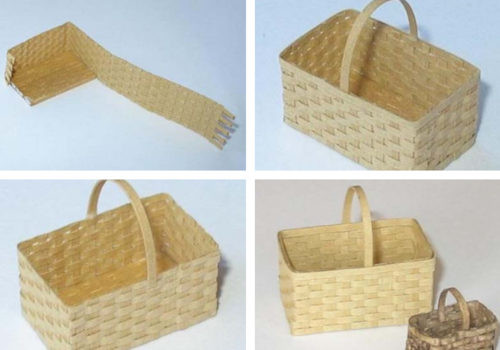 Miniature woven dolls house basket in 1/12th scale