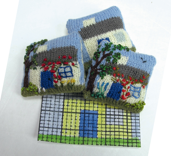 Miniature-set-of-knitted-intarsia-cushions