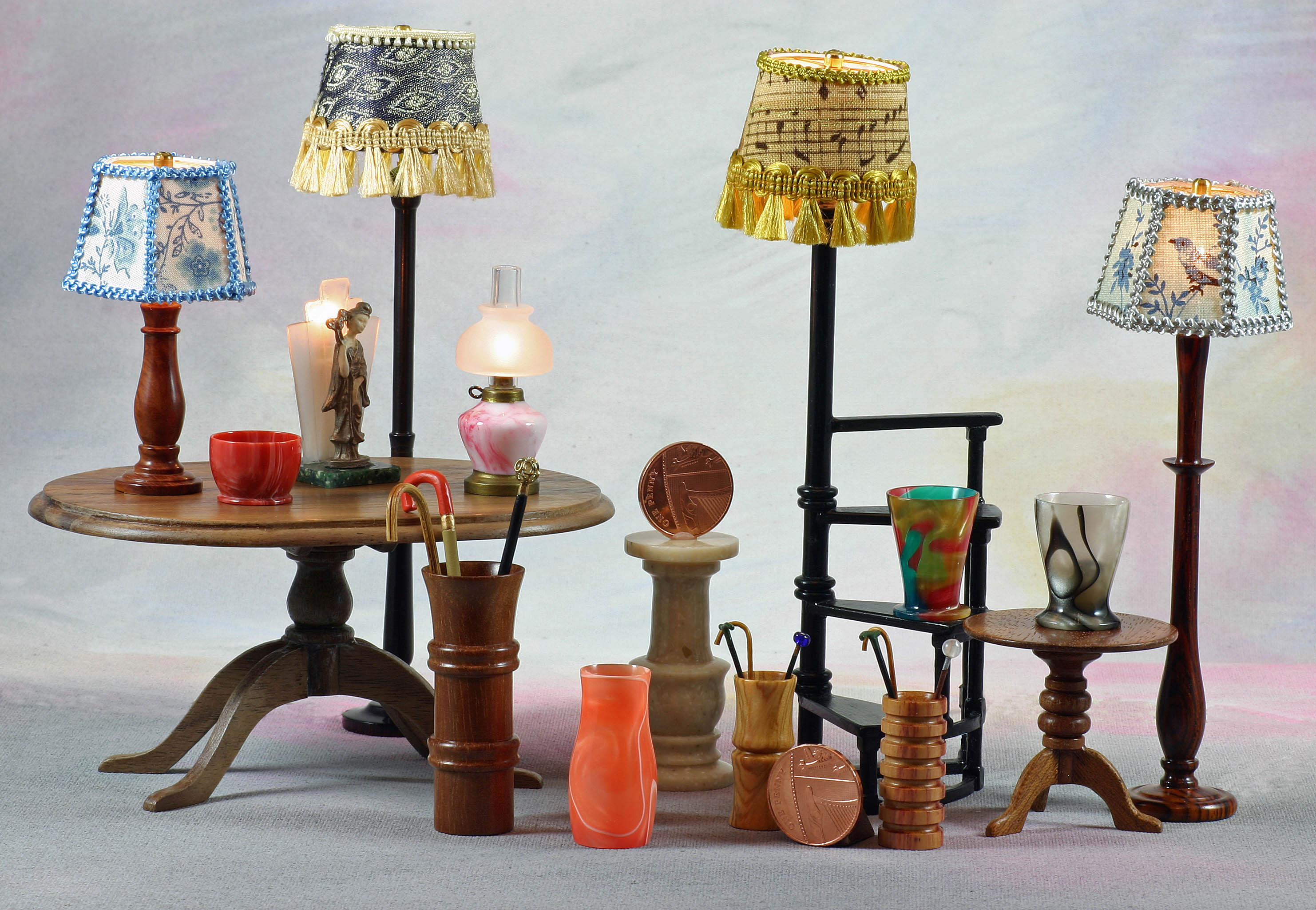 Miniature table and art deco style lights by Al'Turn'Ative Proportions