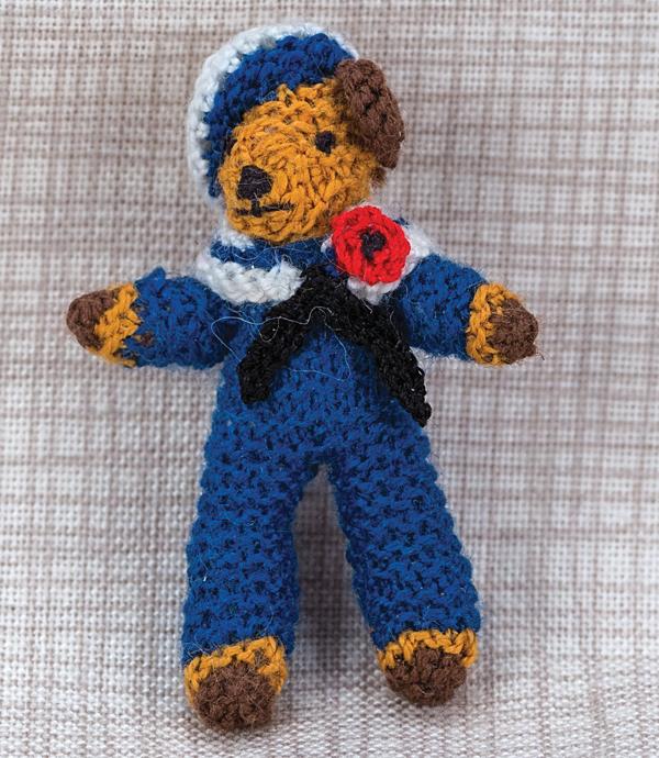 Miniature knitted sailor bear