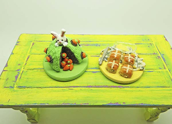 miniature Easter cake and hot cross buns
