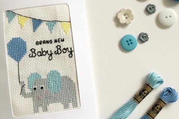 Nicola Hulks cross stitch baby boy elephant