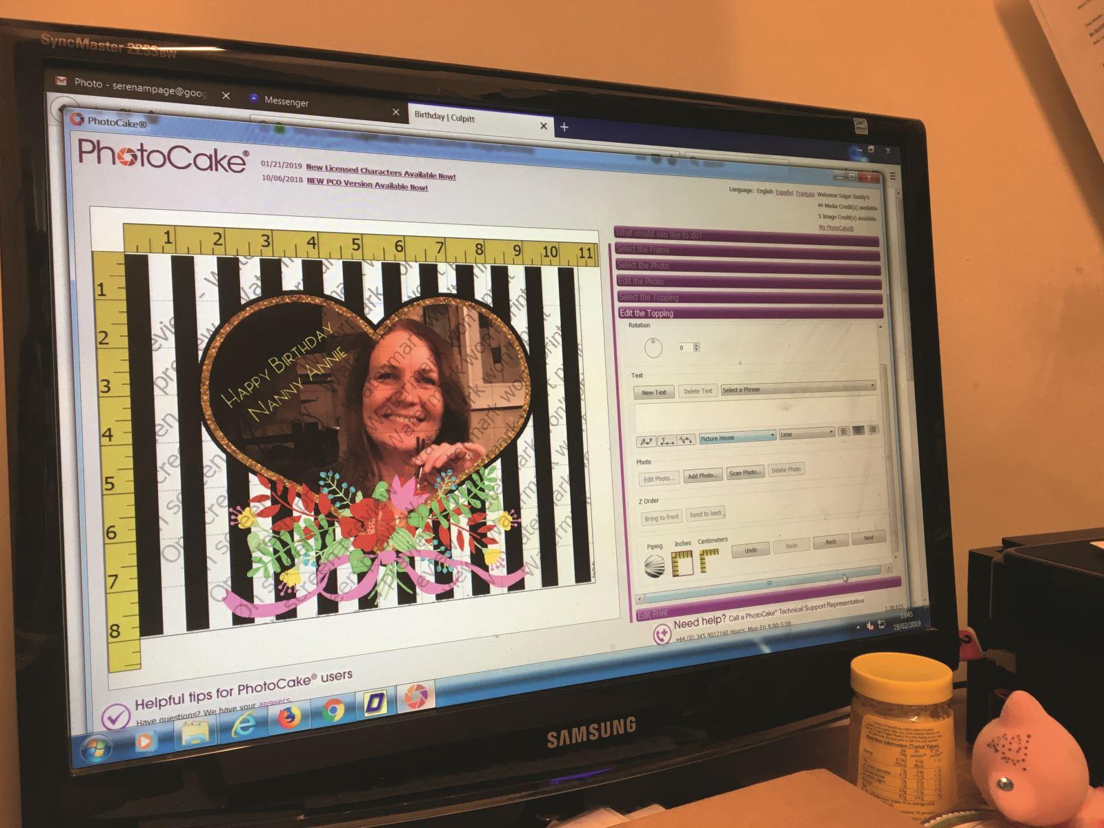 computer image of photocake at work