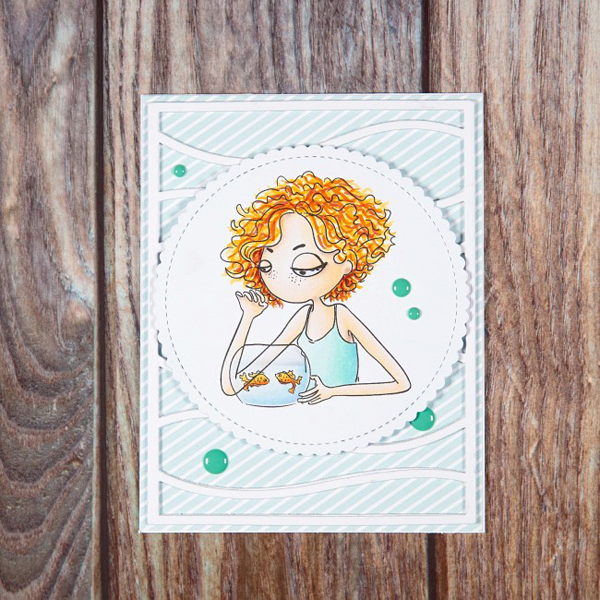 Pisces digi stamp card with woman looking at goldfish in bowl
