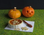 miniature carved pumpkin & pumpkin pie