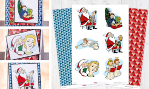 Retro Christmas digital papers collage