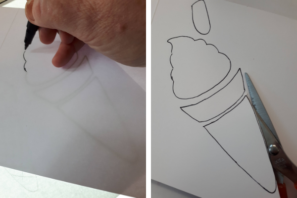 Tracing and cutting ice cream cone template