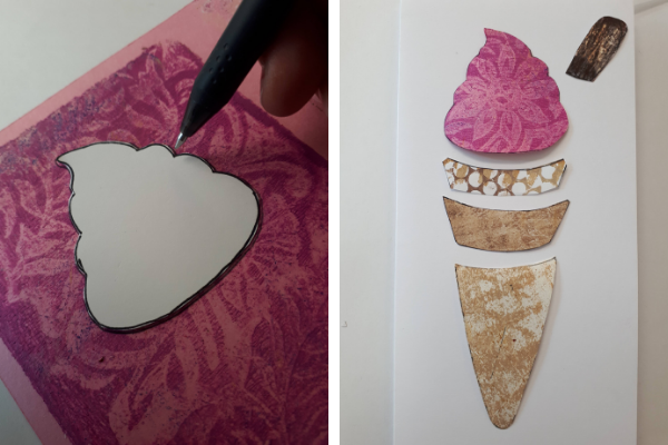 cut out ice cream cone shapes